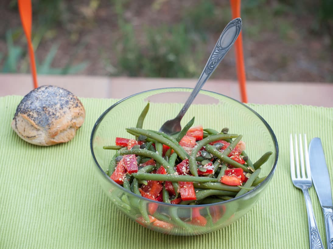 Salade haricots verts poivrons