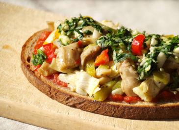 Bruschetta aux légumes (vegan)