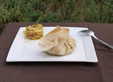 Aumônières au riz, maïs et curcuma (vegan)
