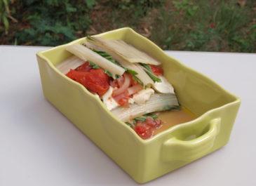Gratin de blettes, tomates, oignons rouges et tofu soyeux (vegan, sans gluten)