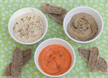 Tartinades vegan : houmous, poivronade au tofu, caviar d'aubergines (vegan, sans gluten)