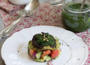 Galettes de pommes de terre et brocoli, pesto d'épinard (vegan)