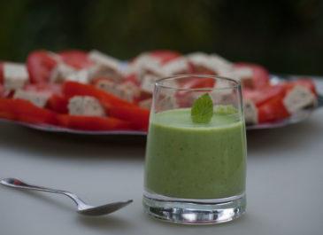 Velouté de petits pois, menthe et lait de coco (vegan, sans gluten)