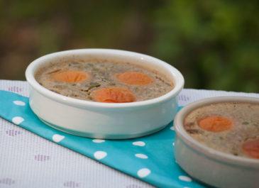 Clafoutis aux abricots, à la pistache et à l'épeautre (vegan)