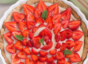 Tarte aux fraises sans gluten et sa crème pâtissière vegan