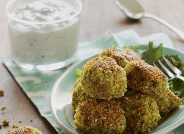 Falafels sans cuisson et tzatziki à la purée de sésame (vegan)
