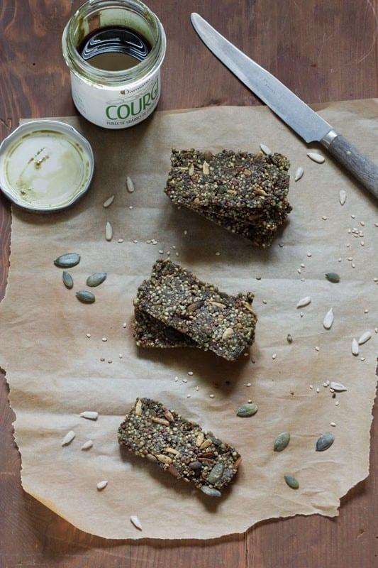 Petites barres à la purée de graines de courge et quinoa