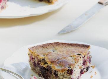 Gâteau aux mûres, citron, pavot et coco (vegan)
