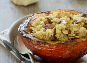 Potimarron farci au millet, châtaignes et noix (vegan)
