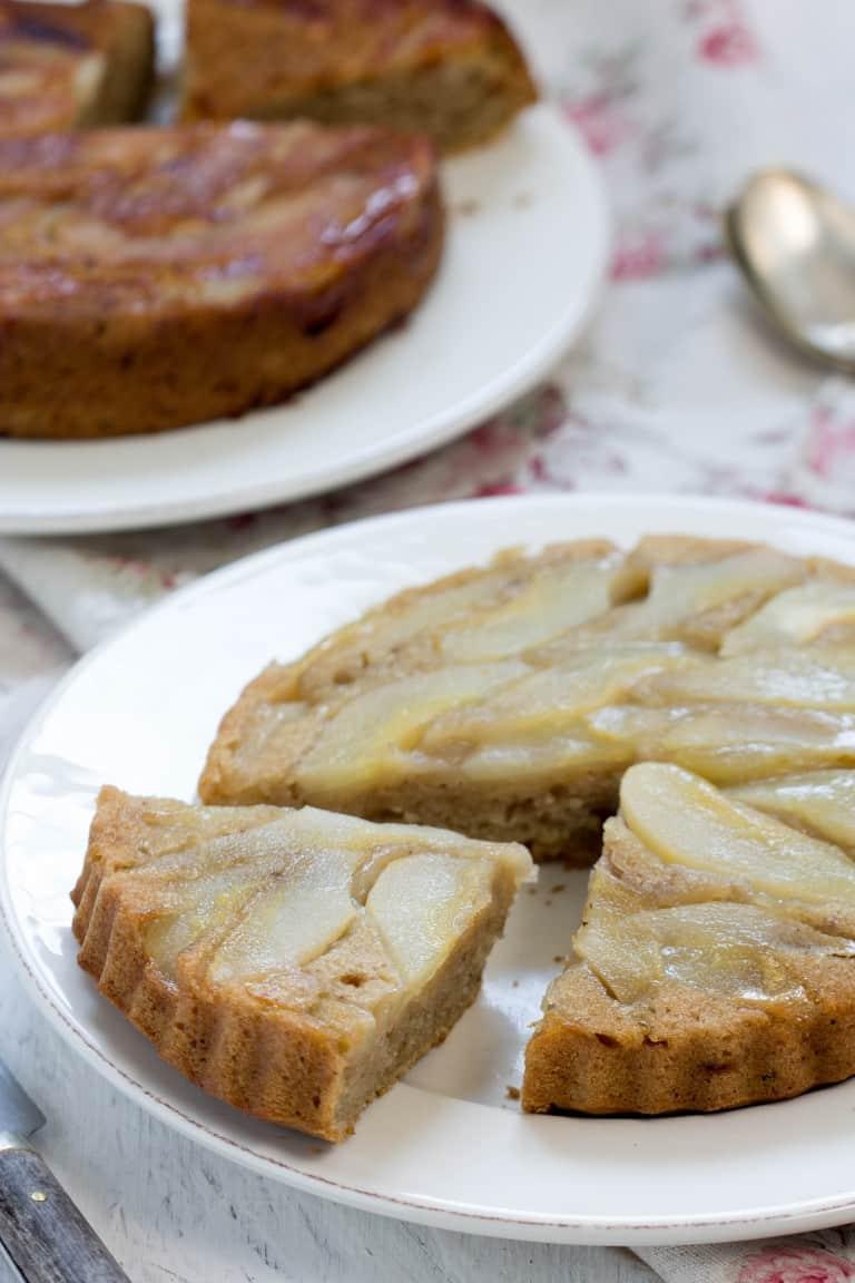 Gâteau renversé aux poires, avec ou sans gluten