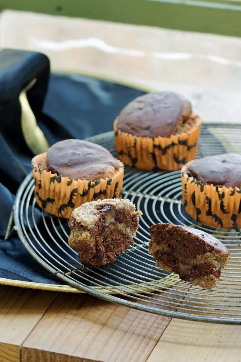 Muffins marbrés banane et chocolat sans gluten pour Halloween