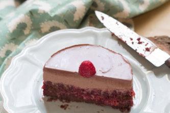 Gâteau au chocolat et framboise (vegan, sans gluten)