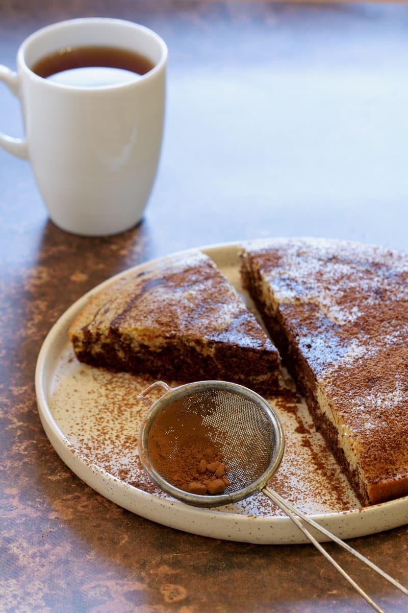 Gâteau marbré végétalien sans gluten